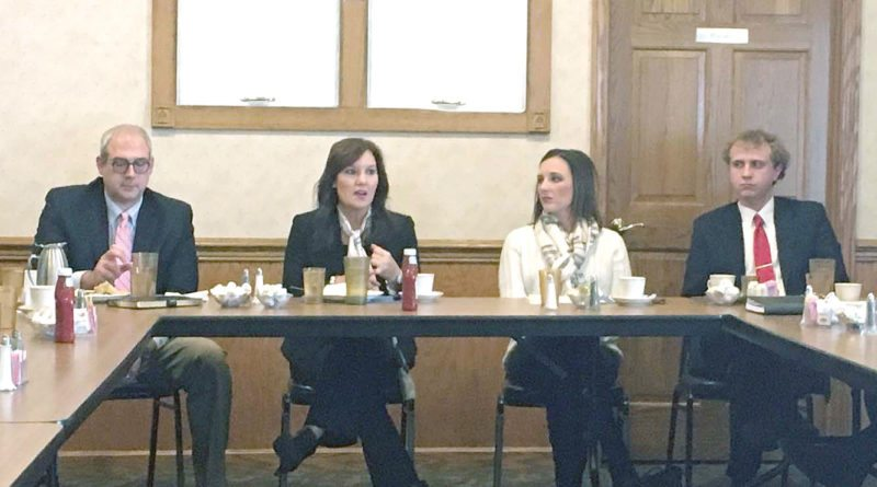 Lt. Gov. Mary Taylor visited with area business owners and politicians during an informal business roundtable at the Dutch Haus in Columbiana on Monday. She is running for governor. (Photo by Katie White)