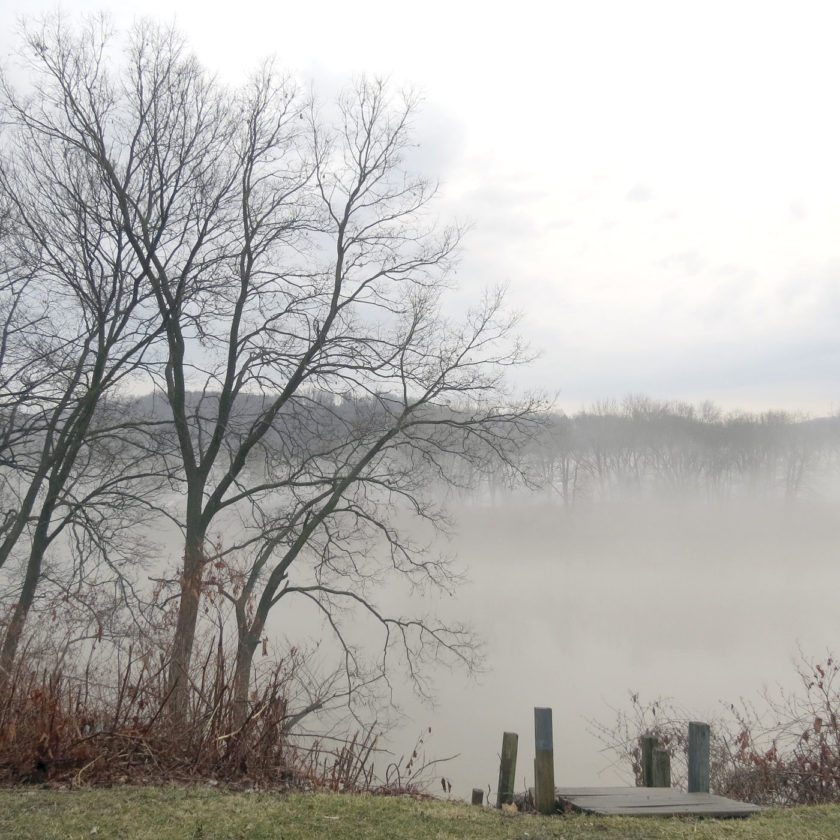 Fog billowed down the Ohio River on Monday afternoon as temperatures rose into the high 50s, making it hard here to see Babbs Island from Ohio Avenue in the East End of East Liverpool. (Review photo)