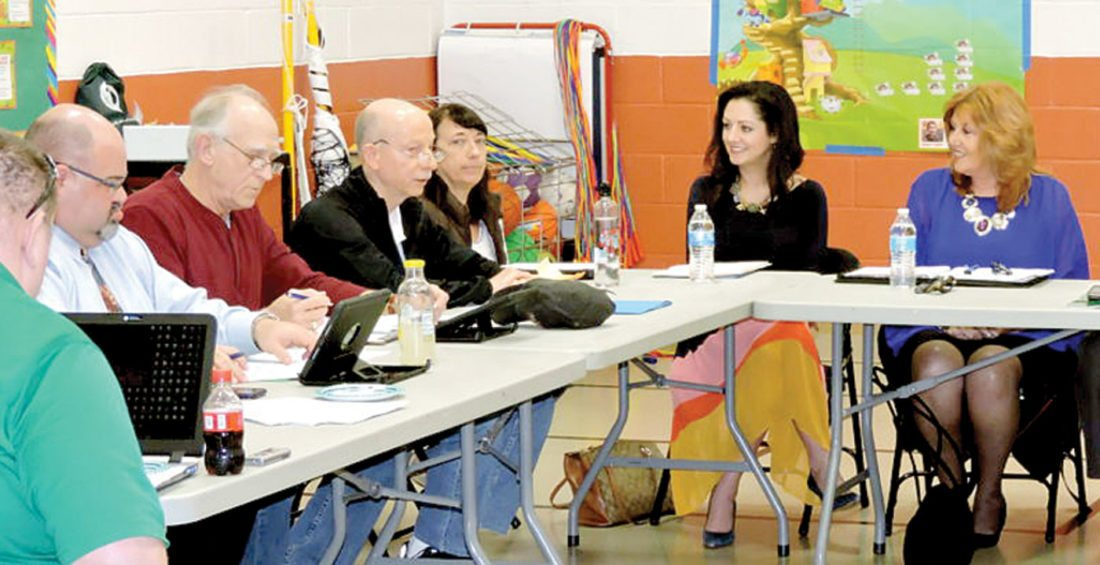 School officials with Hancock County and Brooke County met this week in Weirton to discuss an alternative school plan between the two districts. (Photo by Craig Howell)