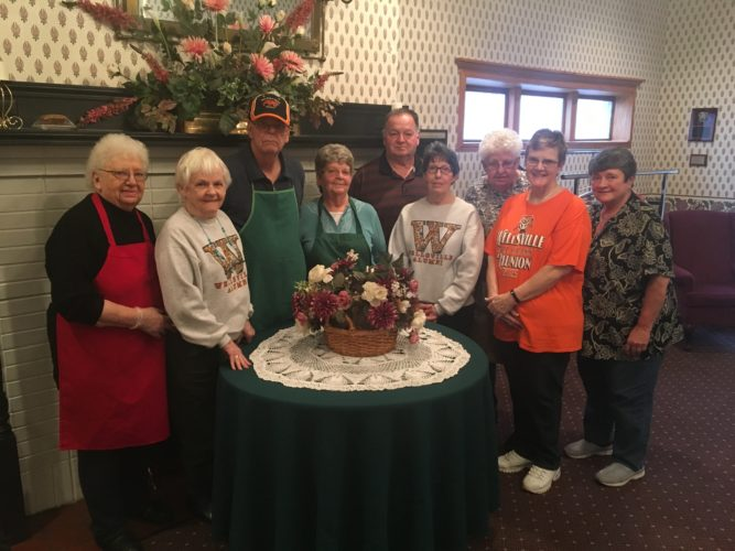 Pictured are some of the members of the Wellsville Alumni Activities Committee, who hold several events throughout the year at the Wellsville Alumni Center on Third Street. The committee is seeking volunteers to help out with the events throughout the year. Pictured are (from left) member Jean Traina, vice president Carrie McMahon, member Lynn Shanks, treasurer Shirley Shanks, member Don Rawlings, secretary Toni Figley, trustee Ruth Gibson, president Sheryl Gibson, and member Sue Rawlins. Not pictured is Linda Cochran. (Photo by Steve Rappach)