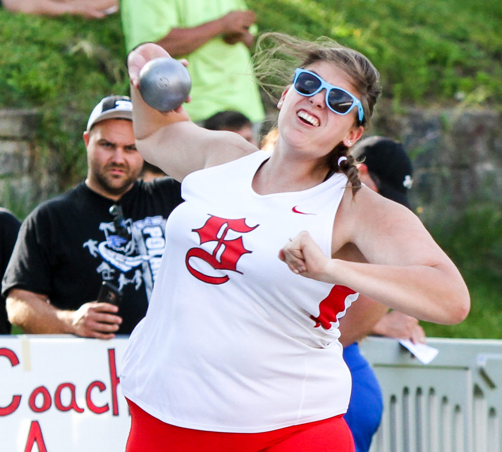 Salem's Helene Shontz wins the shot put on Thursday at the Div. II district meet in Salem. (Photo by Wayne Maris)