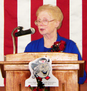 Helen Potter Hayes, the Salem High School Alumni Association (SHSAA) 2017 Honored Alumnus, speaks the class of 2017 during the SHSAA's annual reunion and banquet Saturday. (Salem News photo by Kevin Howell)