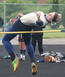 United's Camryn Jarrett finishes first in the girls high jump during the Division III Massillon regional tournament on Wednesday. (Salem News/Ron Firth)