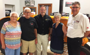 Ohio Ag Equipment has acquired Columbiana County AGCO dealer Witmer's Inc. effective June 19. From left, Doris Witmer, Ralph Witmer, Ken Taylor, owner of Ohio CAT, Nelson Witmer and Grace Styer. (Submitted photo)
