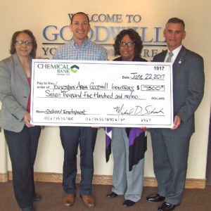 Representatives from Chemical Bank presented a check for $7,500 to Youngstown Area Goodwill Industries. The grant will help support Goodwill's Sheltered Employment Program. Pictured are, from left, Kyowa Pegues, market manager at Chemical Bank; Jim Freeze, Goodwill executive director; Annette Brown, banking center officer at Chemical Bank; and Michael Schrock, regional manager, Chemical Bank. (Submitted photo)
