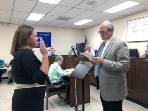 Amanda Banner was sworn in by Columbiana Mayor Bryan Blakeman on Tuesday as the new municipal attorney, replacing Dan Blasdell, who had served the city as municipal attorney since 1976. (Salem News photo by Katie White)