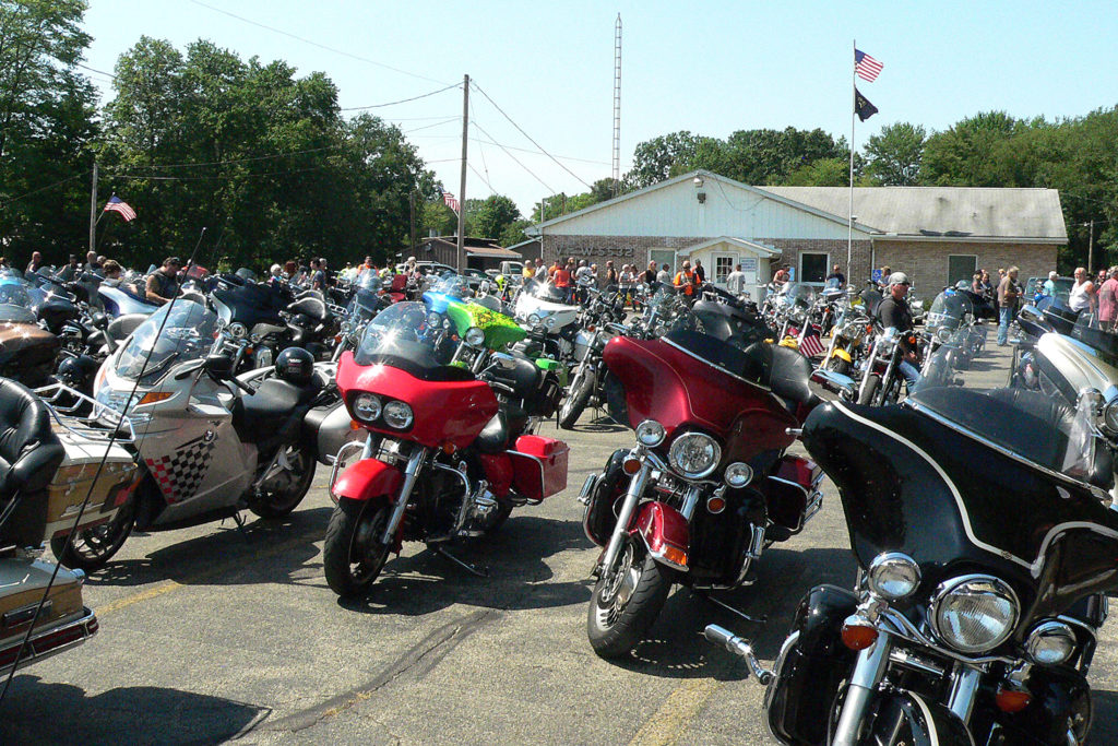 Motorcycles fill the parking lot at the Washingtonville V.F.W. Post 5532. (Salem News photo by Mary Ann Greier)
