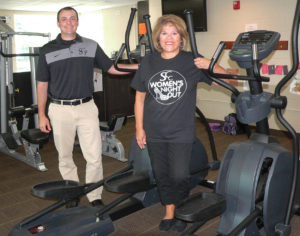 CenterPlex Director Cory Wonner, left, and Salem Community Center Building Supervisor Connie Schoch hang out in the Children's Fitness Center to promote the 7th Salem Community Center Women's Night Out set from 4 to 8 p.m. Sept. 27. The event benefits the fitness center and programming for children. Tickets cost $25 per person for presale only and are available at SCC until Sept. 19. (Salem News photo by Mary Ann Greier)