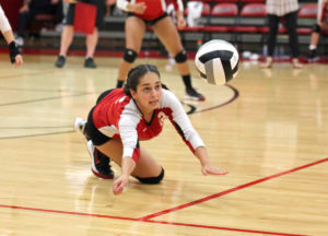 Salem's Taylor Troy dives for the ball against Waterloo on Tuesday. (Salem News/Gary Leininger)