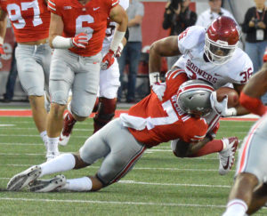 Ohio State safety Damon Webb tackles Dimitri Flowers. (Salem News photo by J.D. Creer)