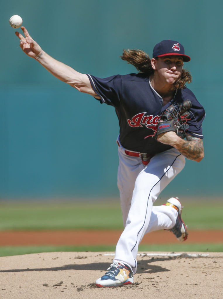 Cleveland Indians starting pitcher Mike Clevinger delivers against the Detroit Tigers during the first inning in a baseball game, Wednesday, Sept. 13, 2017, in Cleveland. (AP Photo/Ron Schwane)