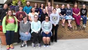 Kent State University's Honors Club members pictured with their advisor, Dr. Andrew Pfrenger, assistant professor of English, include first row, from left, Rochelle Wise, Lydia Strawn, Allison Sunderman, Alexandria Harman; second row, Michael Laubacher, Kaley Anderson, Mariah Lanzer, Shelby Hilbert; third row, Dr. Pfrenger, Tyler Stratton, Joshua Tungate, Brianna Parfaite, Lindsey Rice, Conni Cross, Mackenzie Godwin, Stephanie Giles, Leanne Strawn, Michelle Santini and Molly Davidson. Not pictured are Heather Lude, Rebecca Muldowney, Julia Pitcock and Sylvia Yoder. (Submitted photo)