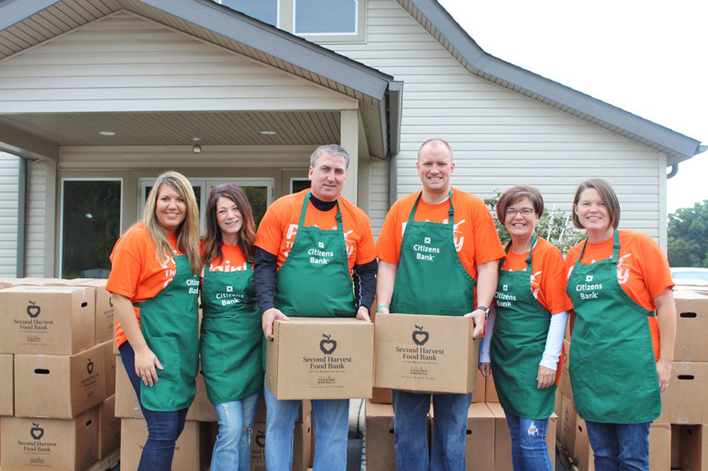 "In observance of September as ""Hunger Action Month,"" Citizens Bank joined the movement on Sept. 14 by volunteering their time to distribute boxes of food and fresh produce to families in need through the Mobile Pantry program in Columbiana County. Pictured volunteering at the Fellowship of the Beloved Church in Hanoverton are, from left, Amanda Wallen, Rita Fuscoe, Robert Marrie, Brad Paulauskas, Holly Dennis and Brittany O'Connor. (Submitted photo)"