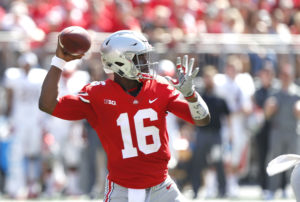 Ohio State quarterback J.T. Barrett throws a pass against UNLV during the first half of an NCAA college football game Saturday, Sept. 23, 2017, in Columbus, Ohio. (AP Photo/Jay LaPrete)