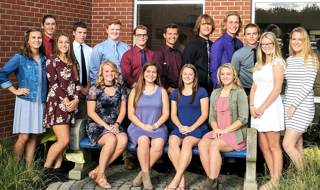 Pictured are members of United High School's Football Homecoming Court. Front row, from left, Hannah Minor, Kendyl Daggy, Tori Hahlen, Jenna Martin, Cassie Yarwood, Hannah Mix, Celeste Hofmeister, Joni Farmer; back row, from left,  Keaton Baker, Kaleb Skiba, Jared DelVichio, Cade Wood, Hunter Ferry, Tyler Humphrey, Body Kiko and Kiel Jones. (Submitted photo)