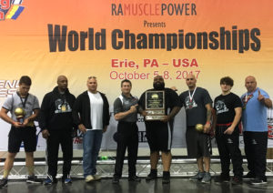 Thee Unbreakable Sports Performance Academy won the team championship Oct. 5-8  at Erie. Pa. Thee Unbreakables Academy, located along U.S. 62 west of Salem, competed with 10 members against nearly 400 athletes representing 17 states and seven countries, including South Africa, Israel, Ireland, Russia and Ukraine. Pictured from the left are, Landon Talbert of Crestview High School, first place teenager, bench press; Nate Matthews of Sandusky, Salem Police Department Detective Dave Talbert, first place police, fire, military bench press (303 lbs); the Ohio State 100 percent Raw Chairman Shane Hudson, Lonnie Atkins, heavyweight open and masters champion; Kelly Pavlik, curl submaster champion and fifth place in bench press; Jake Narvet, Salem High School varsity football, junior starter, first place full-powerlifting (bench, squat, dead lift) teenager; and, Paul Sundy, first place in weight class bench press. Team members not pictured are Brandi Sneed of Indiana, dead lift record holder; Shelby Lynn Taylor, Ashtabula, bench press record holder; Bob Nicholas, 74; and Jerry Matthews, first place in curl and bench press. (Submitted photo)