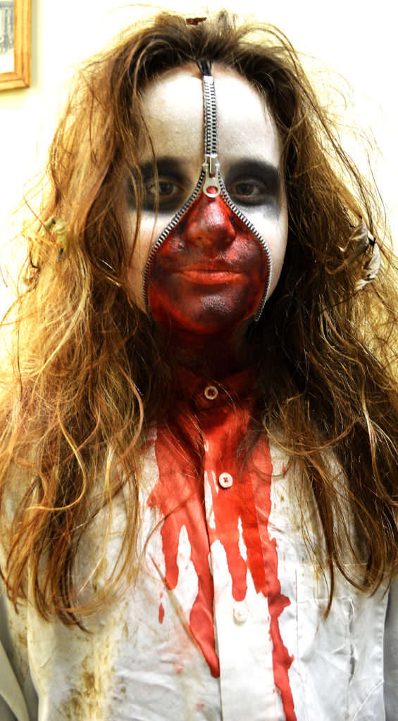 """A frightening-looking """"Zipper Face"""" Peyton Hampson of Hanoverton won first place for scariest costume during last year's Halloween Costume Contest. (Salem News photo by J.D. Creer)"""