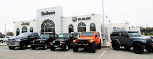 The Salem Chrysler Jeep Dodge and Ram Truck dealership on the bypass north of Salem will change hands when J.R. Wally Armour takes possession from John Kufleitner's Kufleitner Auto Group on Nov. 1. (Salem News photo by Larry Shields)