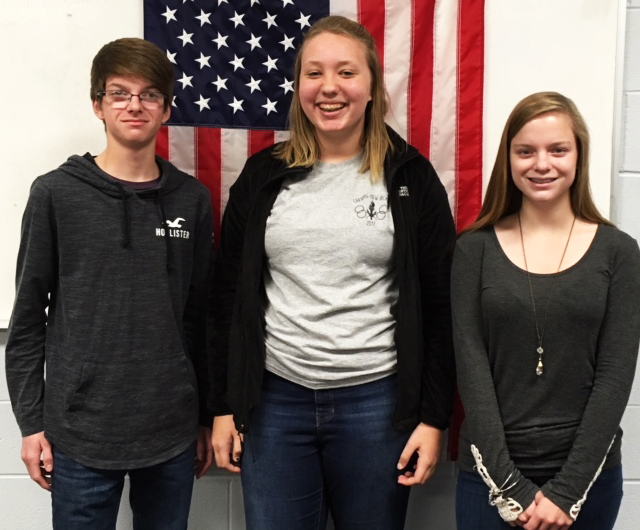 From left, William Reph,  Natalia Kresic and Olivia Reph shared their recent State 4-H Experiences with  fellow 4-H Club  members at the  November meeting of the Western  Reserve Rangers 4-H Club. (Submitted photo)