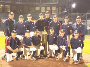 "The Ohio Steel team is pictured with the ""Runner-up Championship"" trophy at Cooperstown Dreams Park last August. Pictured (front from left) are team members Matt McGeorge (Massillon), Robert Gumino (Howland), Conner Pontzloff (Laurel, Pa.) Brandan Nicholas (Rootstown) Luke Disanti (Sarver, Pa.) and Billy Skripac (South Range); (back from left) coach Jayme Disanti, Conner Miller (Canfield), Zachary Pleska (Columbiana), Luke DeAngelis (Rootstown), head coach Mike Skripac, Seth Spooner (Columbiana) Gavin Wilms (Salem) and coach Dan Nicholas. Not Pictured: Chance Laczko, Alex Nicholson, and Mason Bayus. (Submitted photo)"