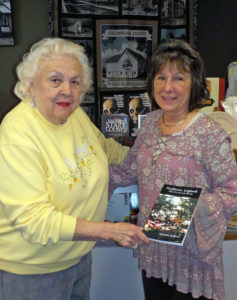 Gloria Judy (left) in discussion with Michelle Huffman (right) about her recent book available at the Salem Historical Society gift shop. (Submitted photo)
