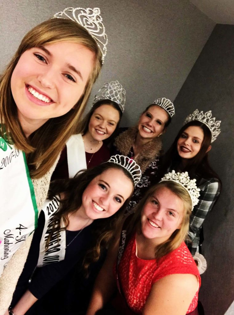 Tiffany Voland,  forefront, Mahoning County 2017-2018 4-H Queen, joins several other county fair queens at the Columbus Convention Center for the recent Ohio Fairs Queen Competition. (Submitted photo)