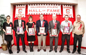 The Columbiana Athletic Hall of Fame welcomed six new members on Jan. 20. Pictured (from left) are Krystle Crittenden Graham, Bruce Wolfe, Katrena Skaggs Davidson, Mike Bogdan, Brian Pearl, for Drew Garrod, Craig and Howard Kyle for Kurt Kyle. (Amy Jackson/foreverstilesphotogrpahy)