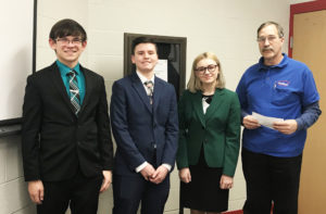 Winners of the Columbiana Rotary Club's annual 4-Way Speech Contest, from left, Evan Gallo, Quinn Beitzel and Emily Dubois with Columbiana Rotary Club President Phil Steiner. (Submitted photo)