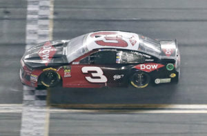 Austin Dillon crosses the finish lane to win the NASCAR Daytona 500 auto race at Daytona International Speedway, Sunday, Feb. 18, 2018, in Daytona Beach, Fla. (AP Photo/John Raoux)