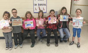 "United Elementary students created table placemats for the United Community Scholarship Foundation breakfast from 7 a.m. to noon Saturday in the high school. Among those ""best in class"" winners and pictured with their placemat artwork are, from left, Violet Terrill, Levi Walker, Adelyn Johnson, Megan Short, Camryn Cody, Samara Martin and Myla French. (Submitted photo)"