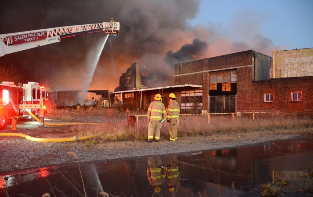 The massive Nov. 28 blaze destroyed the former Salem China building and kept Salem FD busy for days. (Salem News photo by Patti Schaeffer)