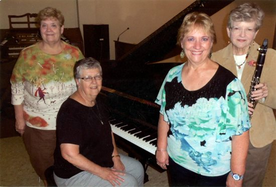 """PHOTO PROVIDED  From left, Bonnie Setzer, Barby Smith (seated), CarolWaltz and Leatha Kieser, members of the Williamsport Music Club. The club will present its October program, """"The Rhythm of our Journey,"""" at 7 p.m. Oct. 25 at the Robert M. Sides Family Music Center, 201 Mulberry St."""