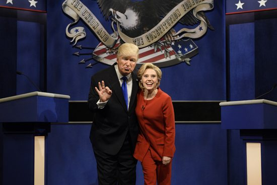 "ASSOCIATED PRESS In an Oct. 1 photo provided by NBC, Alec Baldwin, left, as Republican presidential candidate, Donald Trump, and Kate McKinnon, as Democratic presidential candidate, Hillary Clinton, perform on the 42nd season of ""Saturday Night Live,"" in New York. Republican presidential candidate Donald Trump tweeted on Oct. 16 that the show's skit depicting him this week was a ""hit job."" Trump went on to write that it's ""time to retire,"" adding that Alec Baldwin's portrayal of him ""stinks."""