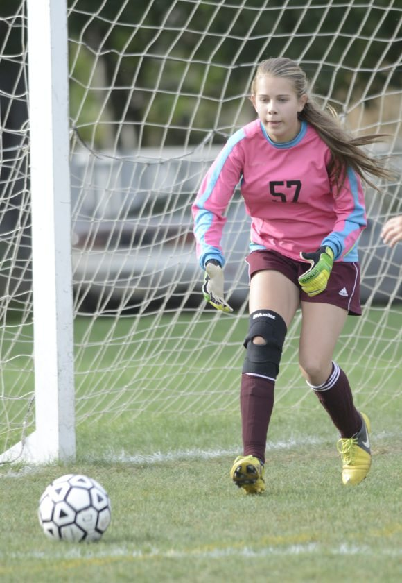 Neumann's Addy Matz, shown playing against Muncy as a freshman in 2014, set three school records for saves this season, including for most saves in a game, in a single season and in a career.