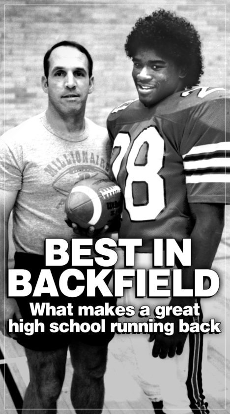 SUN-GAZETTE FILE Gary Brown, with Williamsport High School head coach Tim Montgomery in Brown's senior season of 1986. Brown's jersey will be retired with his scheduled halftime appearance at tonight's Millionaires game vs. Wyoming Area.