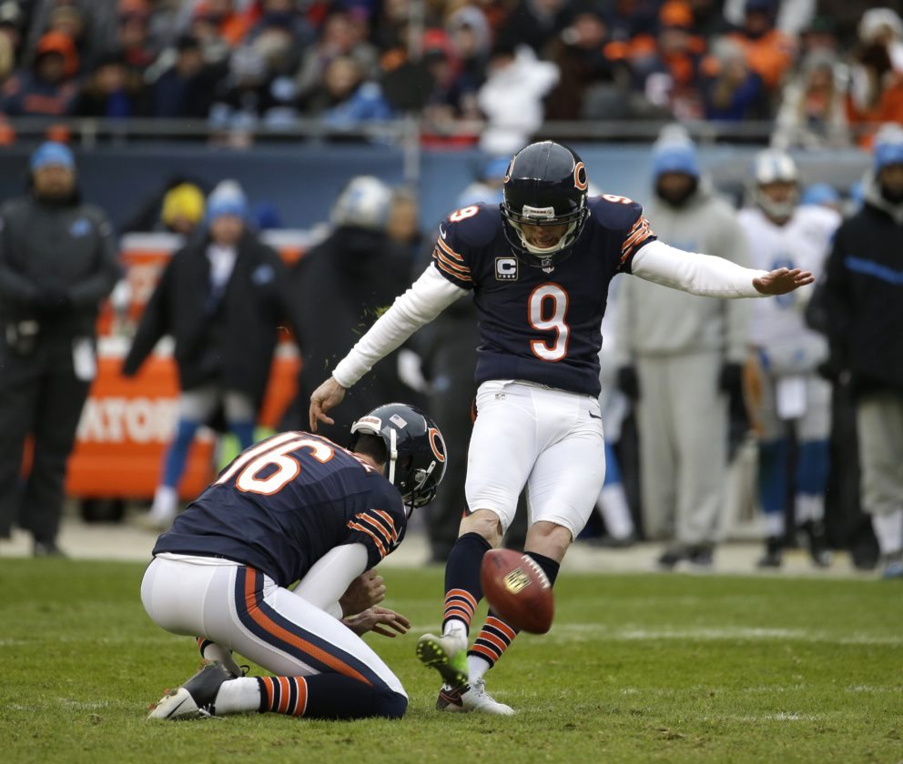 Former Chicago Bears kicker Robbie Gould is shown kicking during a game against the Detroit Lions.Gould was signed on Thursday by the New York Giants. He was released earlier this year by Chicago.