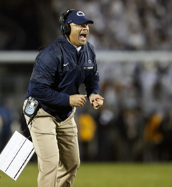 Penn State coach James Franklin reacts after an extra point against Ohio State during the second half of an NCAA college football game in State College, Pa., Saturday, Oct. 22, 2016. Penn State won 24-21. (AP Photo/Chris Knight)