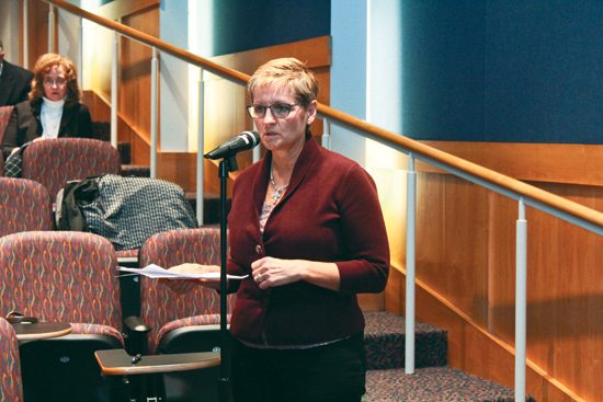 MEGANBLOOM/Sun-Gazette Judy Rosser, executive director of the Blair County Drug and Alcohol Program, speaks Thursday to panelists for a public hearing on the region drug crisis.