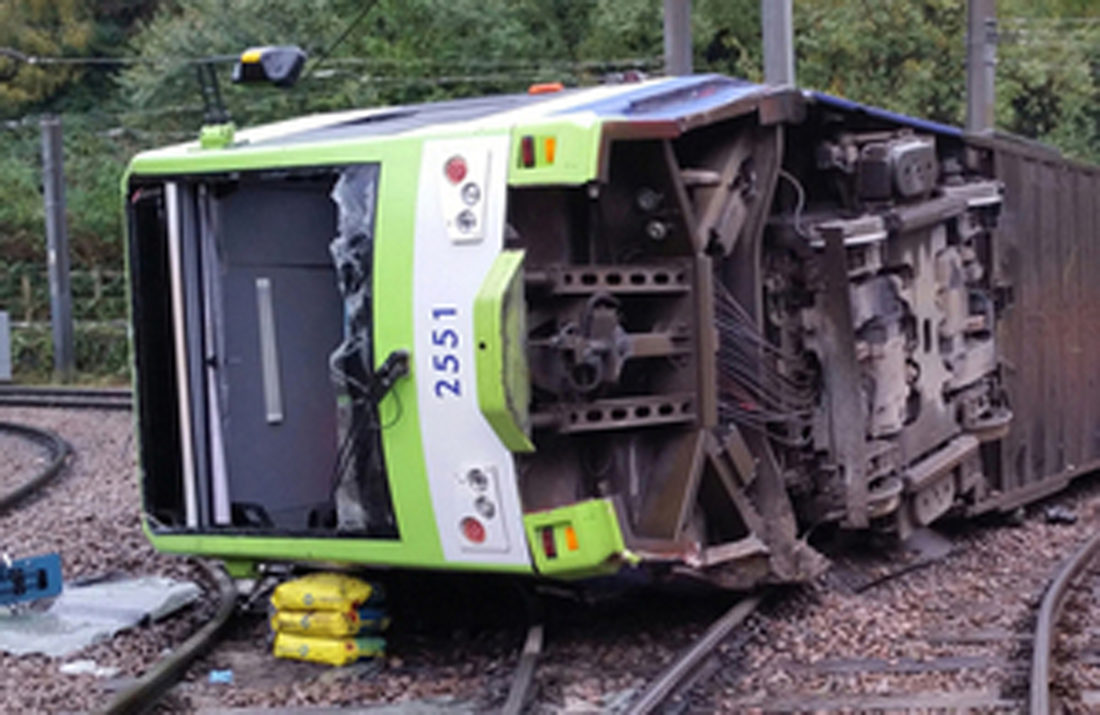 ASSOCIATEDPRESS A photo issued by the Rail Accident Investigation Branch of the tram which derailed near the Sandilands stop in Croydon, London, on Wednesday.