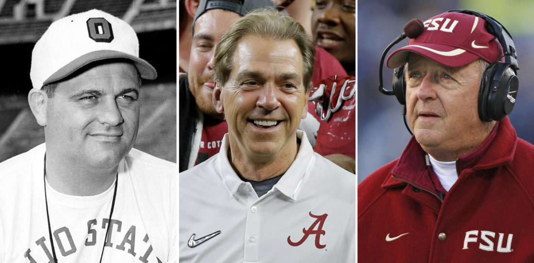 FILE - From left are file photos showing Ohio State football coach Woody Hayes, in 1951, Alabama coach Nick Saban, in 2015, and Florida State coach Bobby Bowden, in 2007. Nick Saban is on the verge of another milestone victory, another number that gives a glimpse at how dominant his teams have been at Alabama. A victory by the Crimson Tide against Mississippi State on Saturday in Tuscaloosa will be Saban's 40th when Alabama has been ranked No. 1, matching Bobby Bowden and Woody Hayes for the most by a coach. (AP Photo/File)