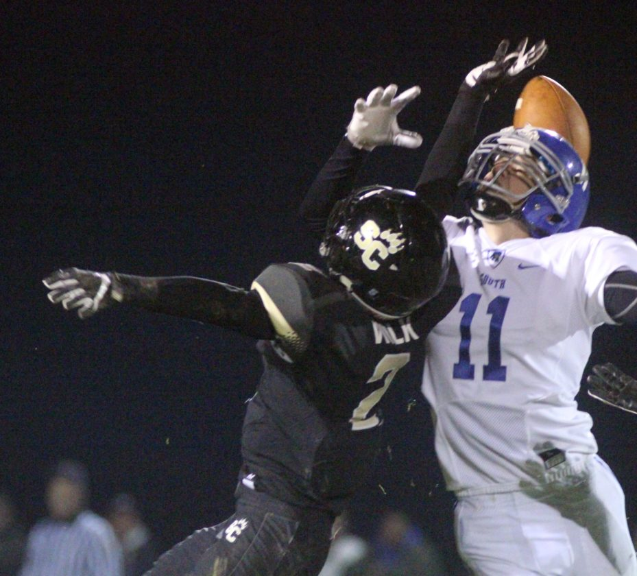 Southern Columbia's Teagan Wilk breaks up a pass intended for South Williamsport's Aaron Guerrisky during the District 4 Class AA playoff game at Southern Columbia on Friday.