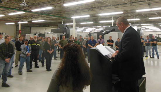 MIKE REUTHER/Sun-Gazette Scott Weiant, Bureau of Workers Compensation director, speaks to the employees of Lycoming Engines.