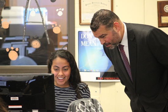 PHOTO PROVIDED Sofia Patino Irurita, an exchange student at Jersey Shore, speaks with Sec. Rivera.