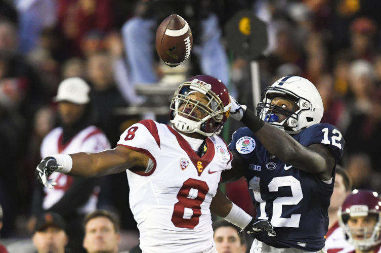 Penn State wide receiver Chris Godwin, catches a touchdown pass over Southern California defensive back Iman Marshall during the second half of the Rose Bowl NCAA college football game Monday, Jan. 2, 2017, in Pasadena, Calif. (AP Photo/Mark J. Terrill)