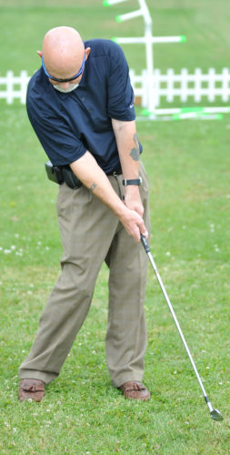 Generate clubhead speed with a smooth but forceful motion.