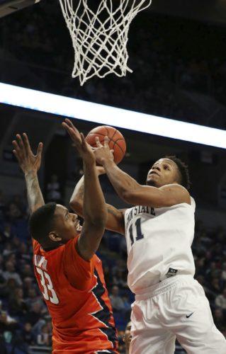 ASSOCIATED PRESS Penn State forward Lamar Stevens shoots against Illinois' Mike Thorne Jr. Saturday at the Bryce Jordan Center.