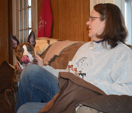 BECKY LOCK/Sun-Gazette Wendy Rundio, of South Williamsport, sits with her 3-year-old dog, Dixie Delilah, a mix between an American staffordshire terrier and a bull terrier. Rundio has owned many breeds of dogs.