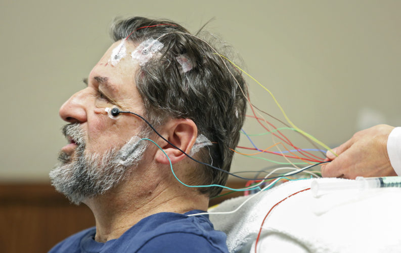 Jon Obe, of Dubuque, Iowa, prepares for a sleep study at Mercy Medical Center-Dubuque's sleep lab. Over the past 15 years, sleep has become widely recognized as a critical aspect of good health, and new research has shed more light on its importance in cardiovascular, metabolic and immune health.        NICK KOHL/Telegraph Herald via AP