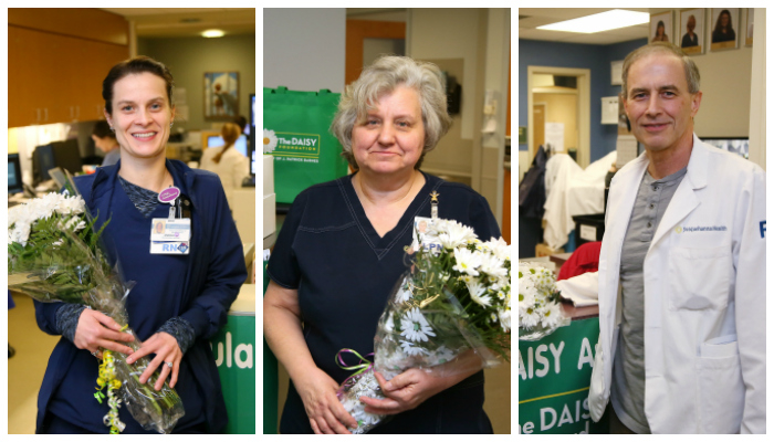 PHOTO PROVIDED From left to right are UPMC Susquehanna nurses Andrea Woodling, Martha Laird and Tony Phillips. They received the latest DAISY awards.
