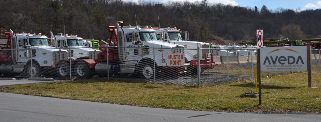 Natural gas industry transportation and related equipment sits idle at Adeva Energy's site along Lycoming Creek Road awaiting the call for more drilling action.  JIM CARPENTER/Central PA Shale Play